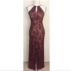B DARLIN Burgundy Lace Formal Dress